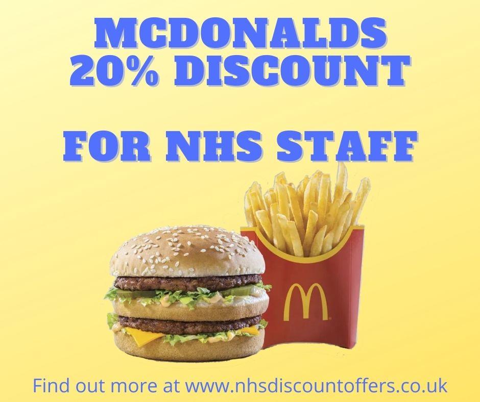 mcdonalds nhs discount